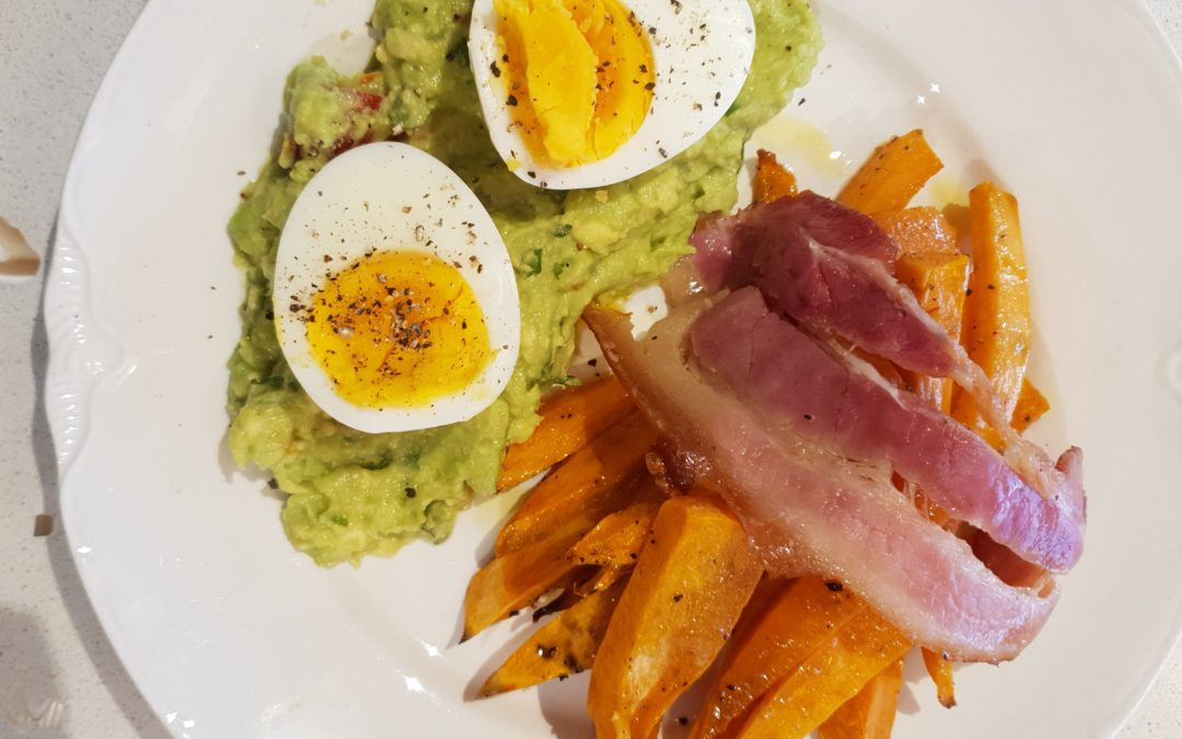 Weekend Breakfast – Sweet Potato Chips with Bacon, Boiled Egg and Avocado Salsa