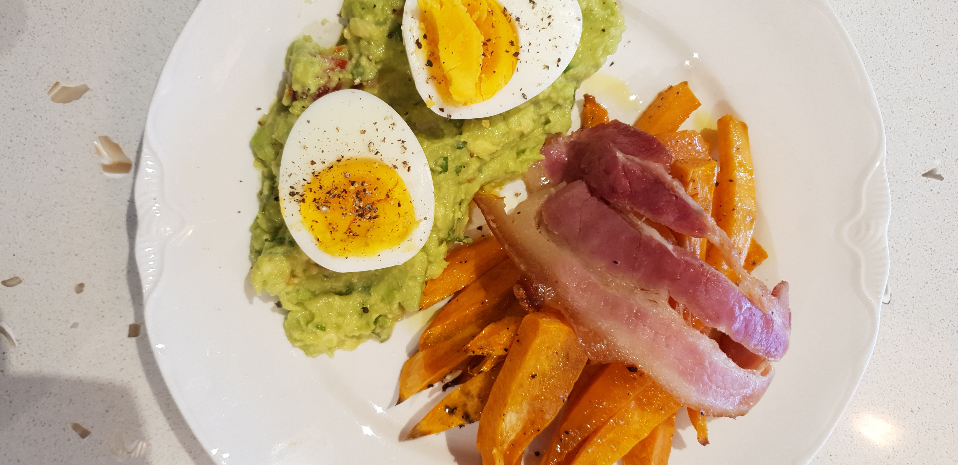 Weekend Breakfast Sweet Potato Chips Avo smash and boiled egg